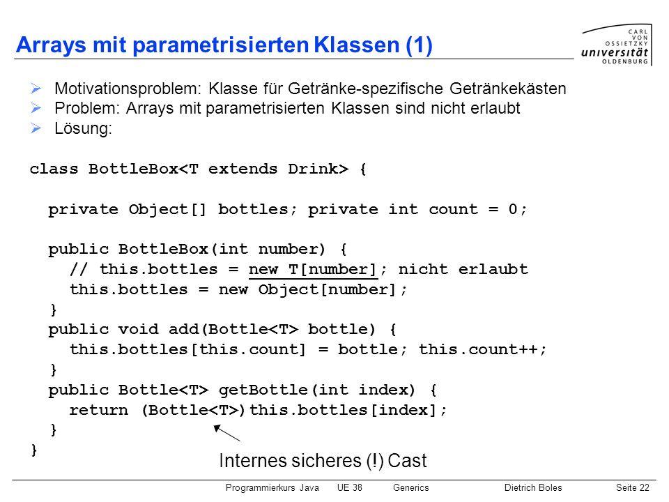 Arrays mit parametrisierten Klassen (1)