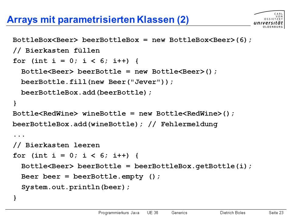 Arrays mit parametrisierten Klassen (2)