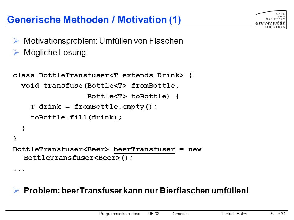 Generische Methoden / Motivation (1)