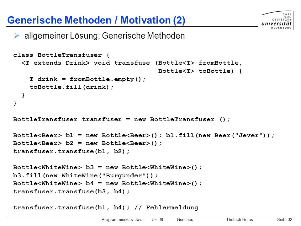 Generische Methoden / Motivation (2)
