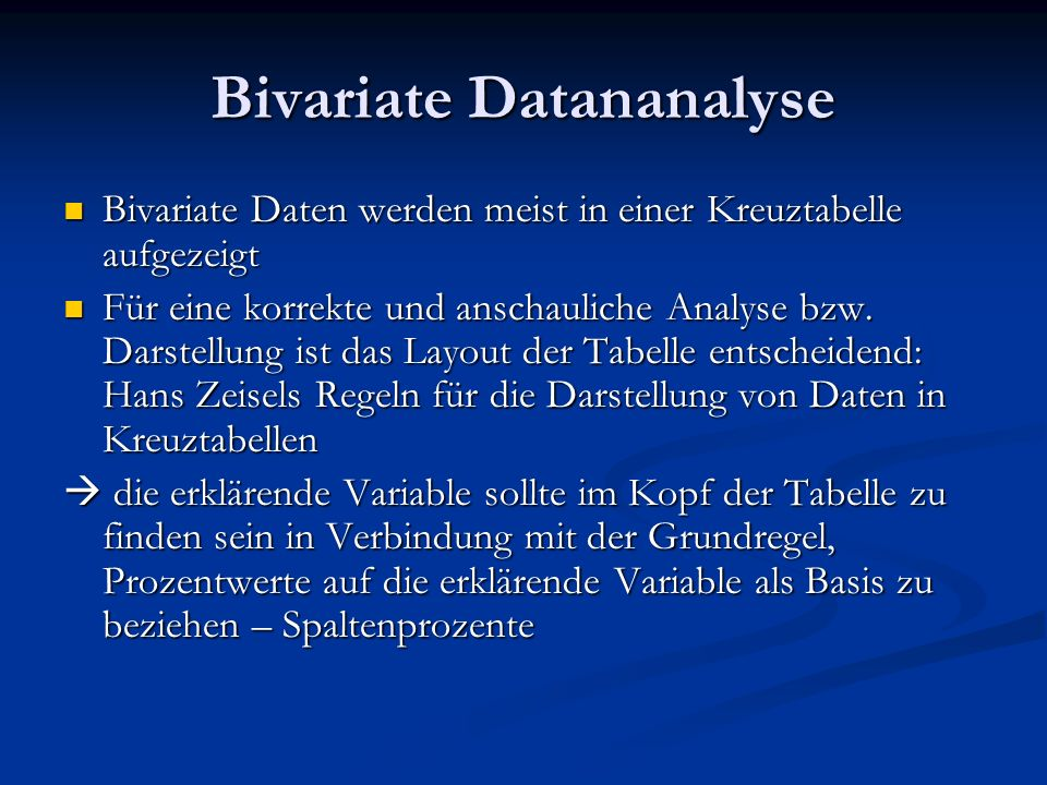 Bivariate Datananalyse
