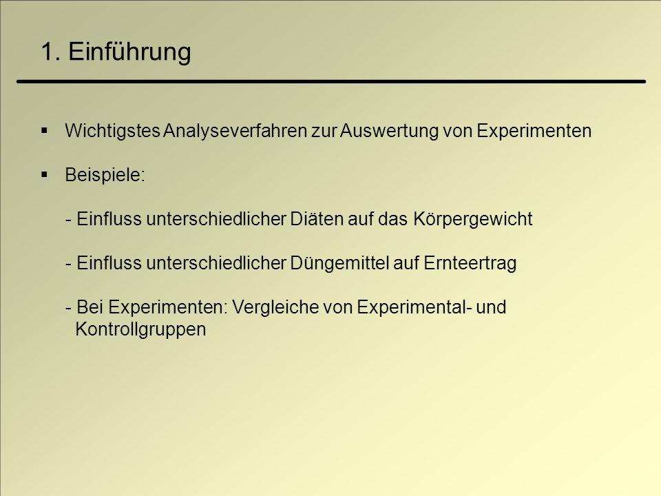 1. Einführung Wichtigstes Analyseverfahren zur Auswertung von Experimenten. Beispiele: - Einfluss unterschiedlicher Diäten auf das Körpergewicht.