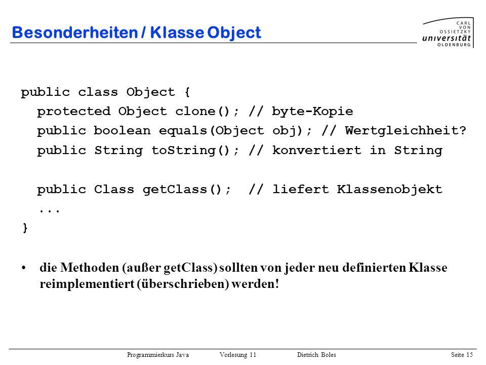 Besonderheiten / Klasse Object