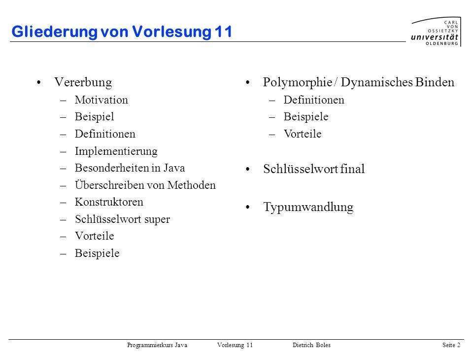 Gliederung von Vorlesung 11
