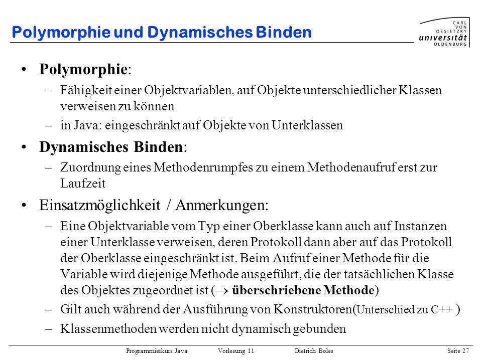 Polymorphie und Dynamisches Binden