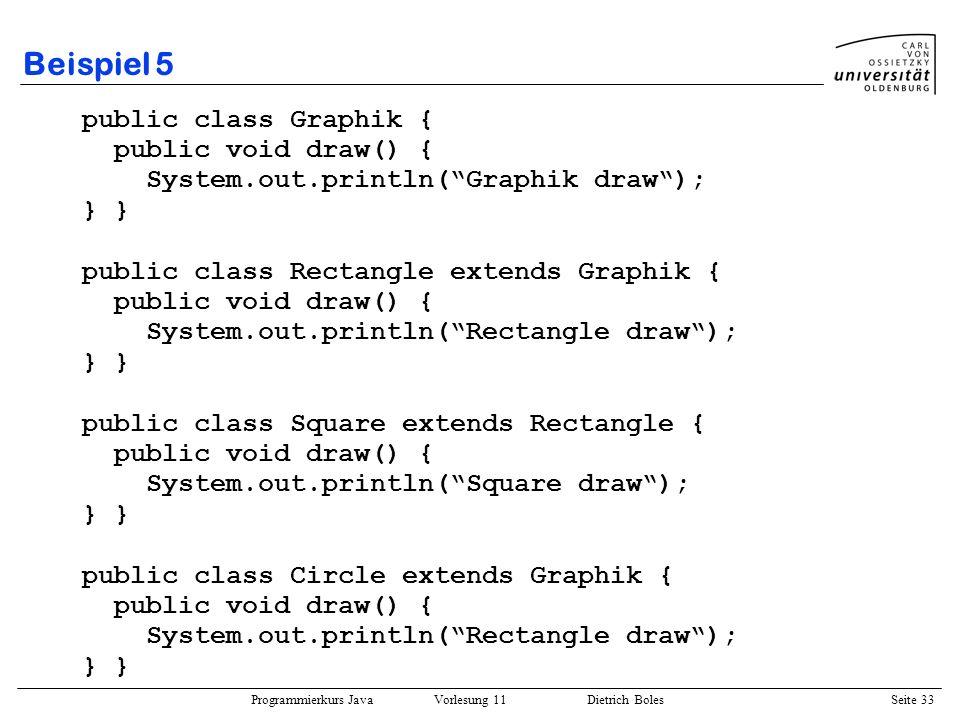 Beispiel 5 public class Graphik { public void draw() {