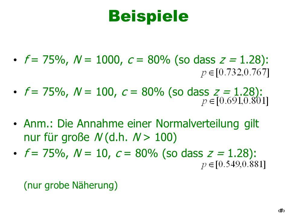 Beispiele f = 75%, N = 1000, c = 80% (so dass z = 1.28):