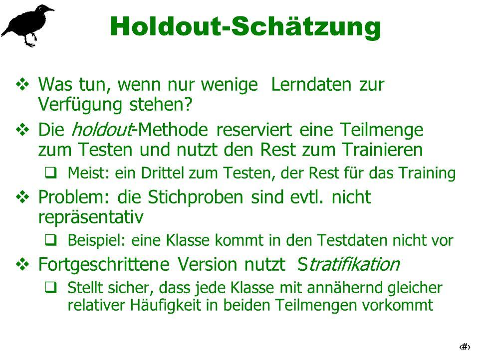 Holdout-Schätzung Was tun, wenn nur wenige Lerndaten zur Verfügung stehen