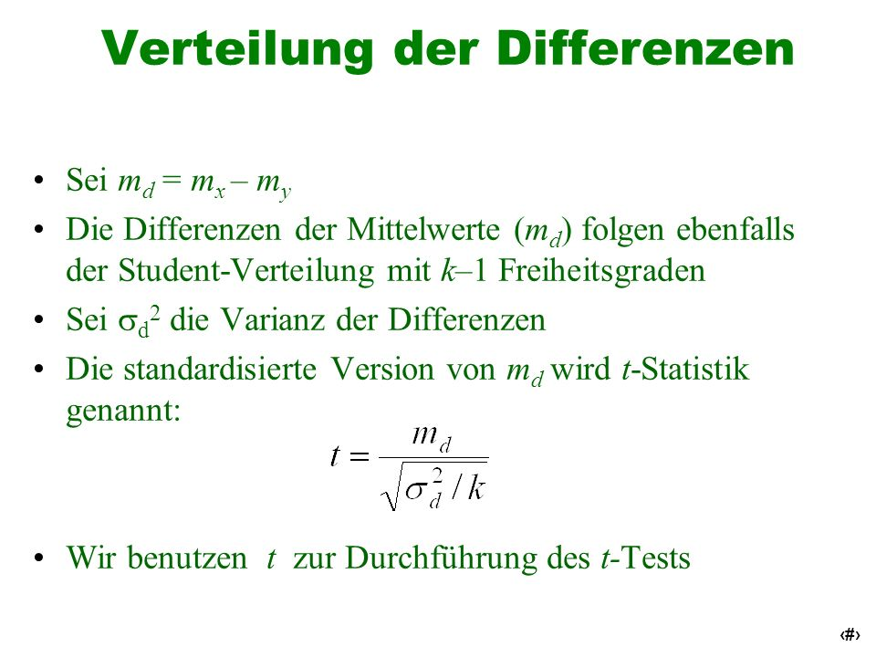 Verteilung der Differenzen