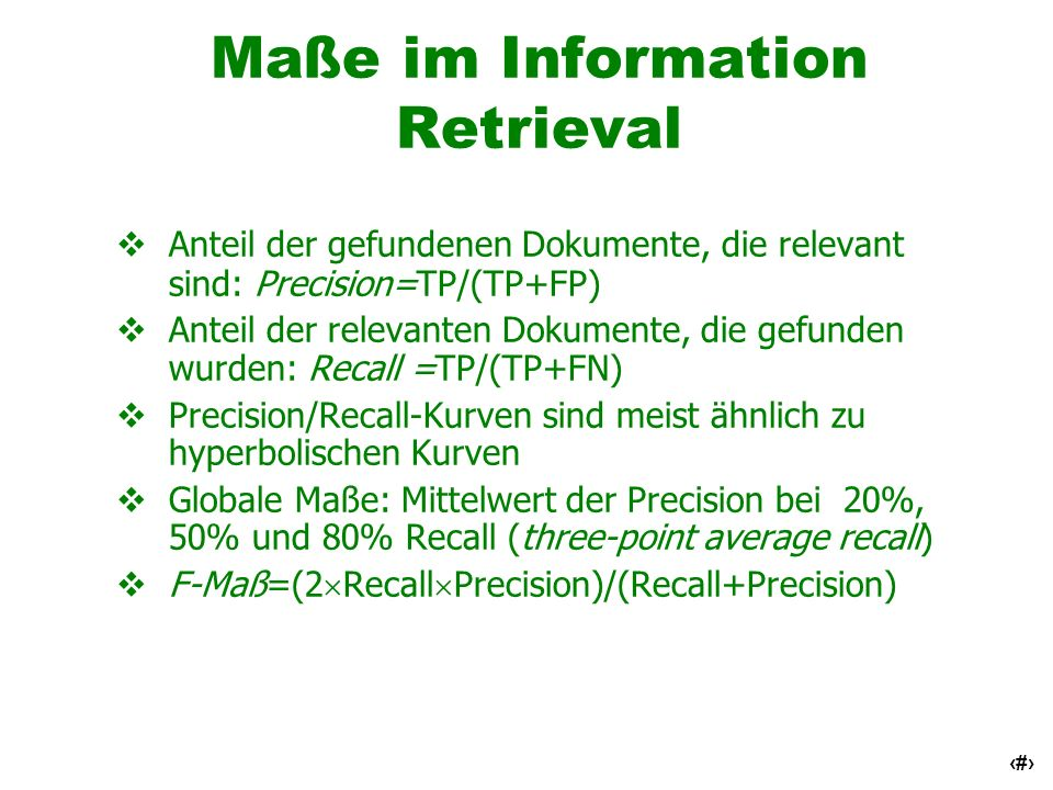 Maße im Information Retrieval