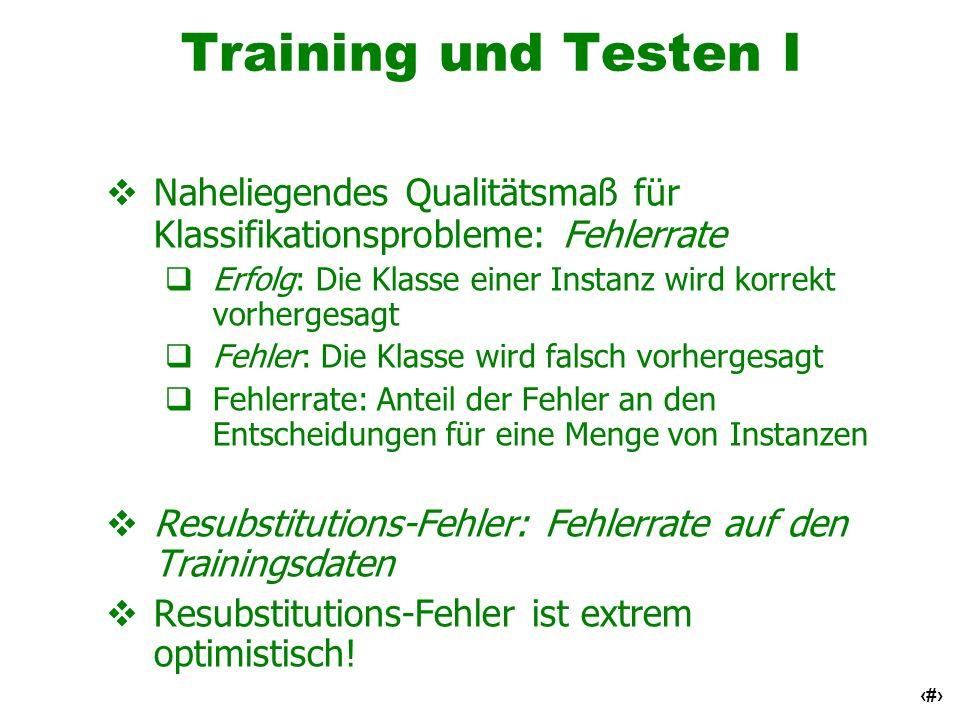 Training und Testen I Naheliegendes Qualitätsmaß für Klassifikationsprobleme: Fehlerrate.