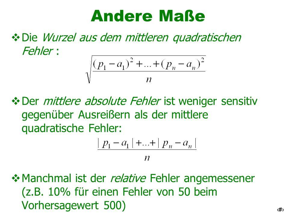 Andere Maße Die Wurzel aus dem mittleren quadratischen Fehler :