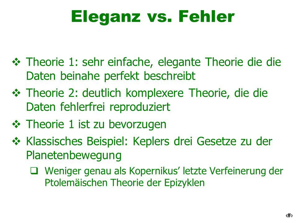 Eleganz vs. FehlerTheorie 1: sehr einfache, elegante Theorie die die Daten beinahe perfekt beschreibt.