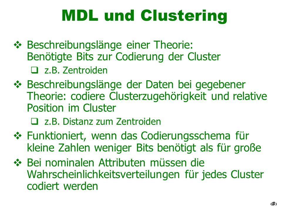 MDL und ClusteringBeschreibungslänge einer Theorie: Benötigte Bits zur Codierung der Cluster. z.B. Zentroiden.