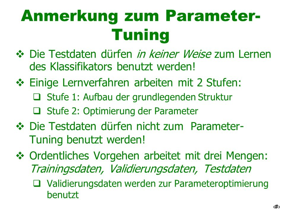 Anmerkung zum Parameter-Tuning