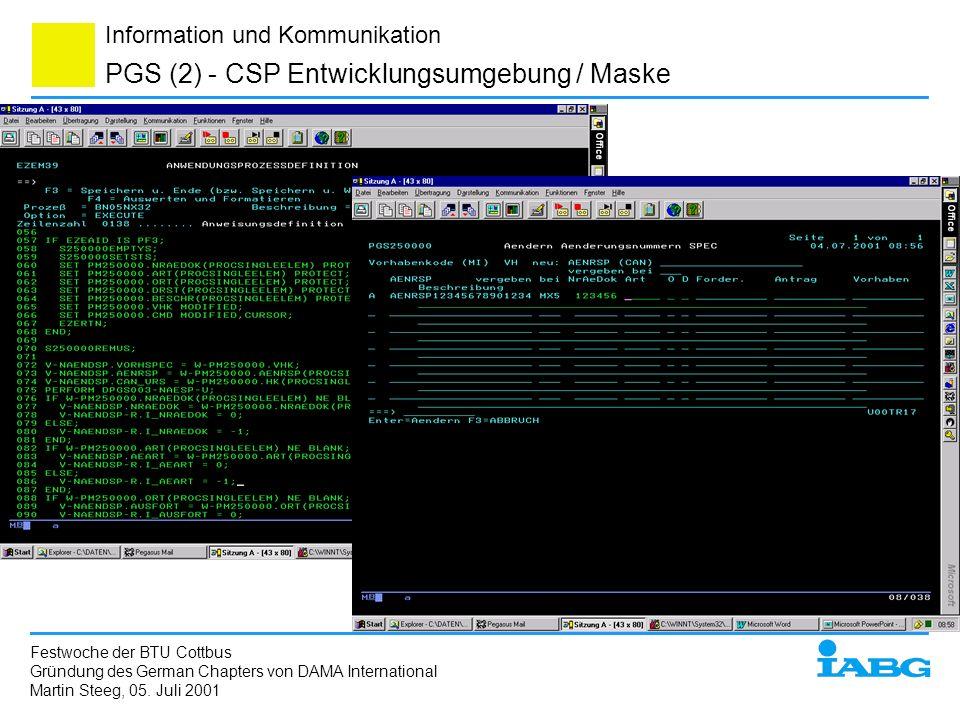PGS (2) - CSP Entwicklungsumgebung / Maske