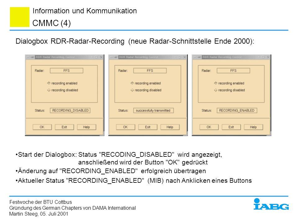 CMMC (4)Dialogbox RDR-Radar-Recording (neue Radar-Schnittstelle Ende 2000):