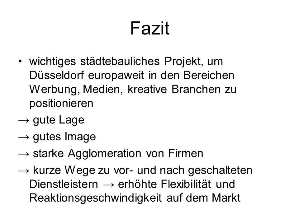 Fazitwichtiges städtebauliches Projekt, um Düsseldorf europaweit in den Bereichen Werbung, Medien, kreative Branchen zu positionieren.