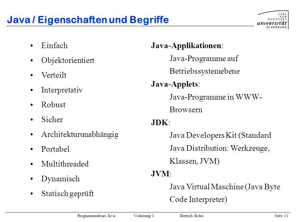 Java / Eigenschaften und Begriffe