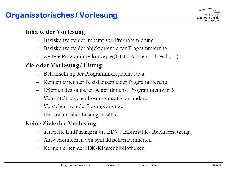 Organisatorisches / Vorlesung