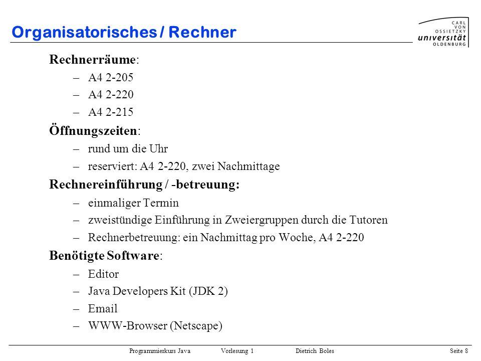 Organisatorisches / Rechner