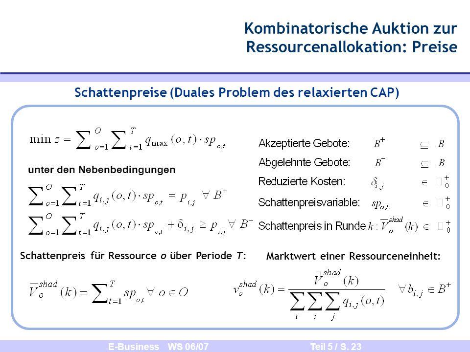 Kombinatorische Auktion zur Ressourcenallokation: Preise