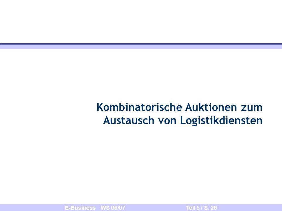 Kombinatorische Auktionen zum Austausch von Logistikdiensten