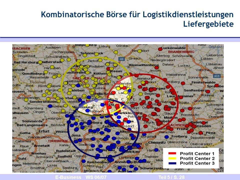 Kombinatorische Börse für Logistikdienstleistungen Liefergebiete