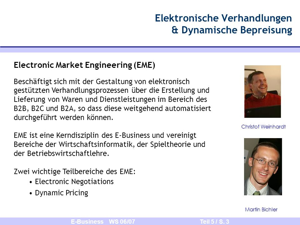 Elektronische Verhandlungen & Dynamische Bepreisung