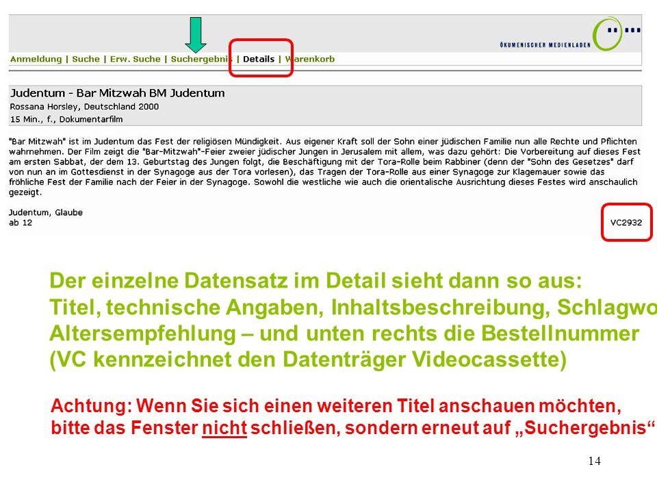 Der einzelne Datensatz im Detail sieht dann so aus: Titel, technische Angaben, Inhaltsbeschreibung, Schlagworte, Altersempfehlung – und unten rechts die Bestellnummer (VC kennzeichnet den Datenträger Videocassette)