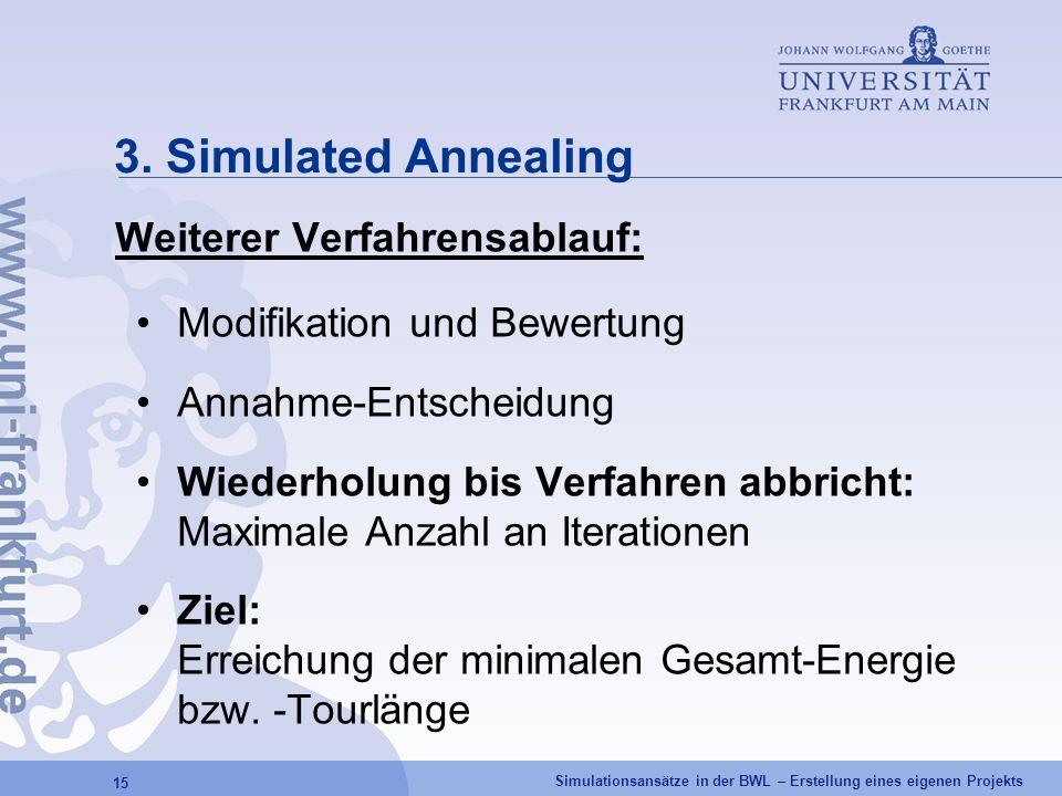 3. Simulated Annealing Weiterer Verfahrensablauf: