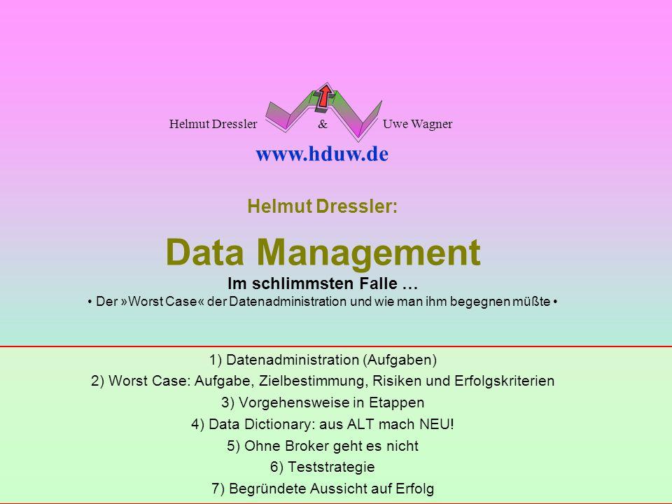 Helmut Dressler: Data Management Im schlimmsten Falle … • Der »Worst Case« der Datenadministration und wie man ihm begegnen müßte •