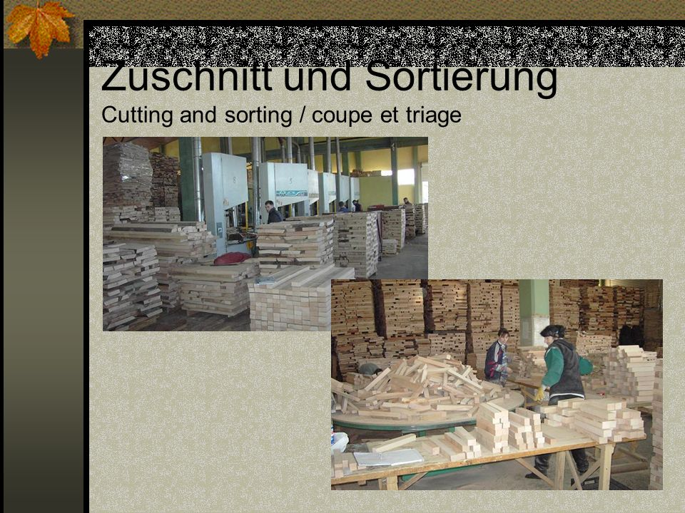Zuschnitt und Sortierung Cutting and sorting / coupe et triage