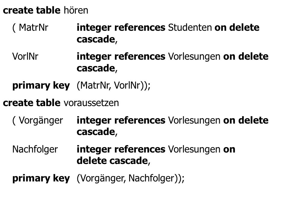create table hören ( MatrNr integer references Studenten on delete cascade,