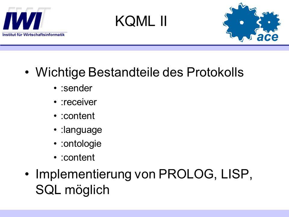 KQML II Wichtige Bestandteile des Protokolls