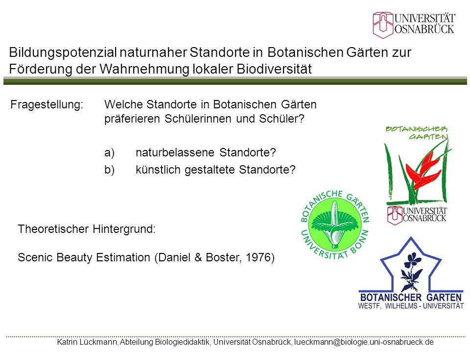 Bildungspotenzial naturnaher Standorte in Botanischen Gärten zur Förderung der Wahrnehmung lokaler Biodiversität