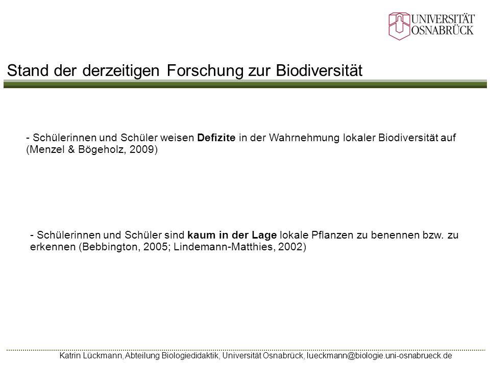 Stand der derzeitigen Forschung zur Biodiversität