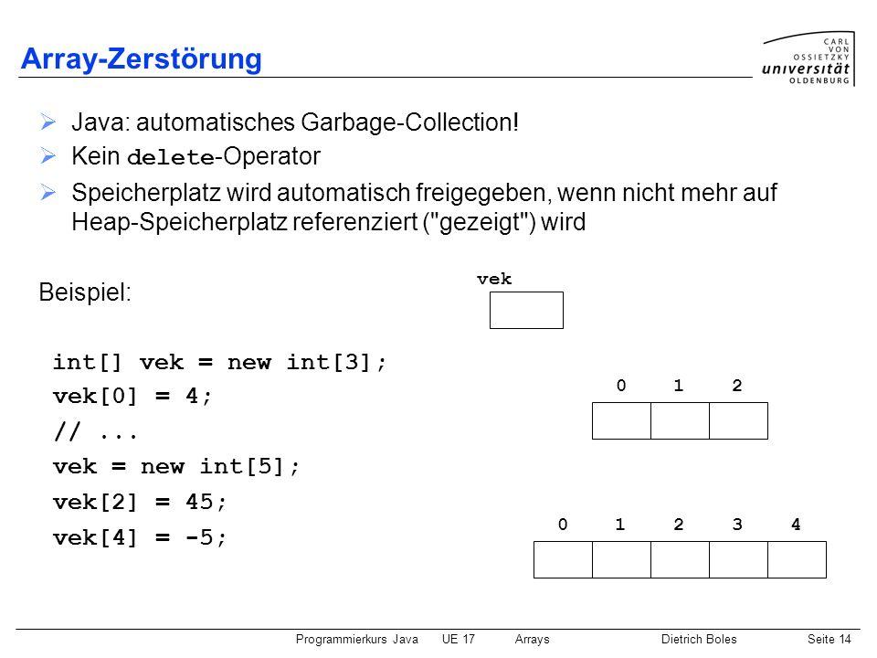 Array-Zerstörung Java: automatisches Garbage-Collection!