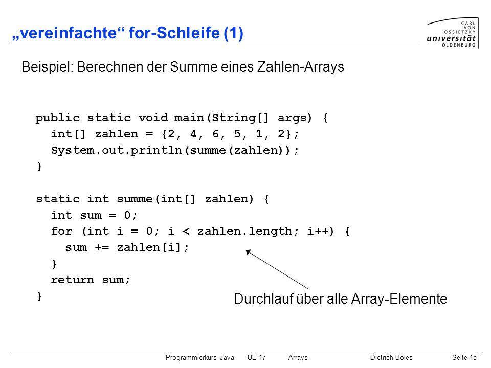 """vereinfachte for-Schleife (1)"