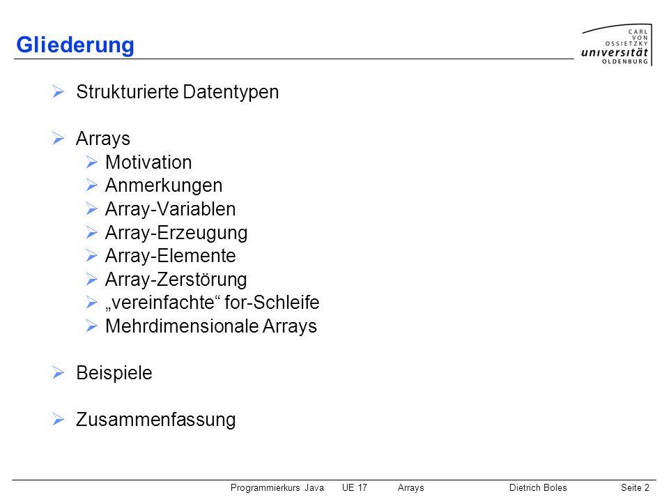Gliederung Strukturierte Datentypen Arrays Motivation Anmerkungen