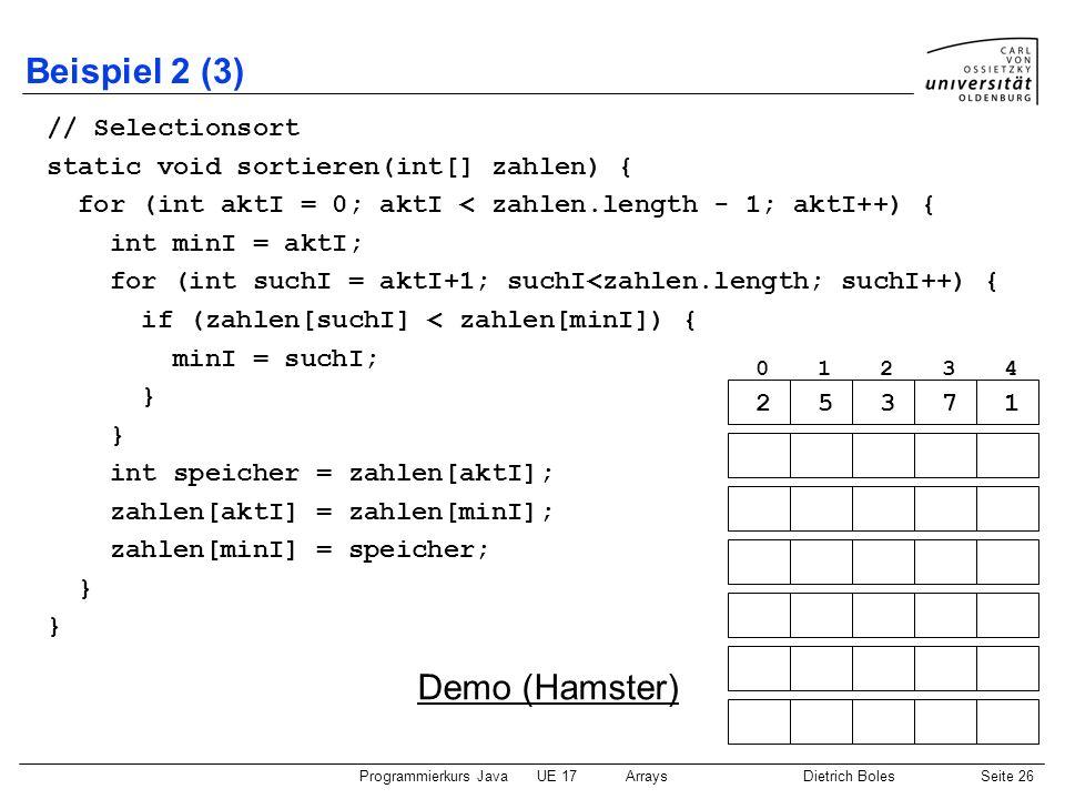 Beispiel 2 (3) Demo (Hamster) // Selectionsort