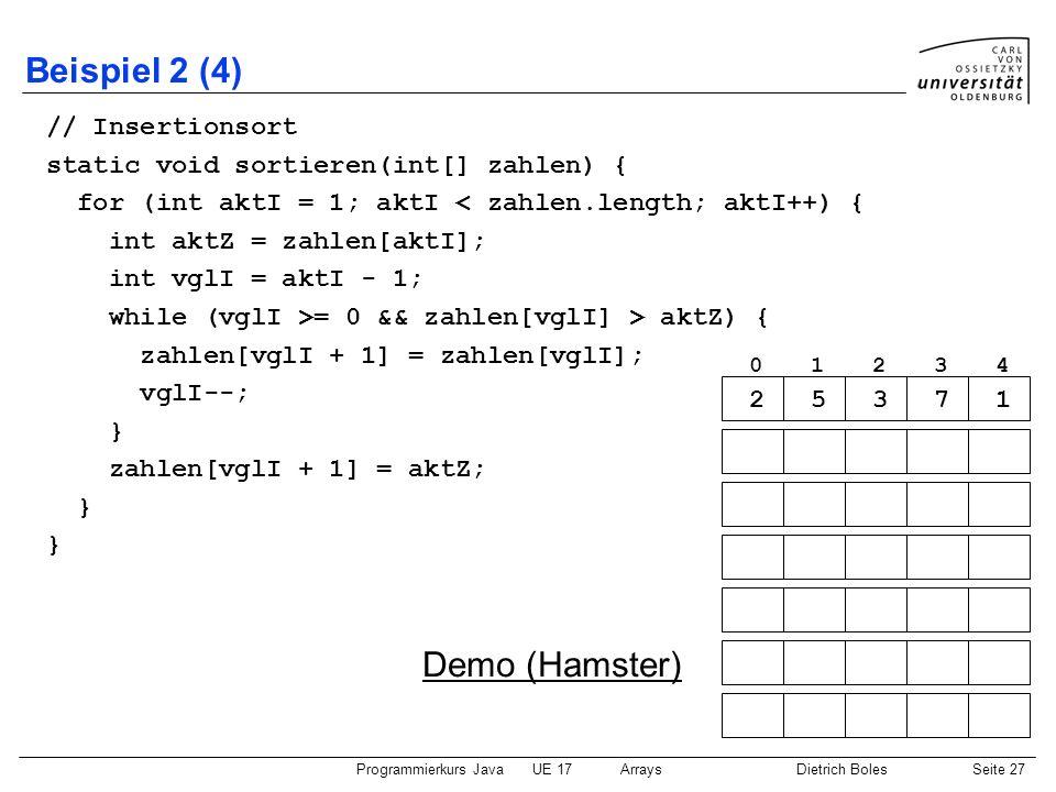 Beispiel 2 (4) Demo (Hamster) // Insertionsort