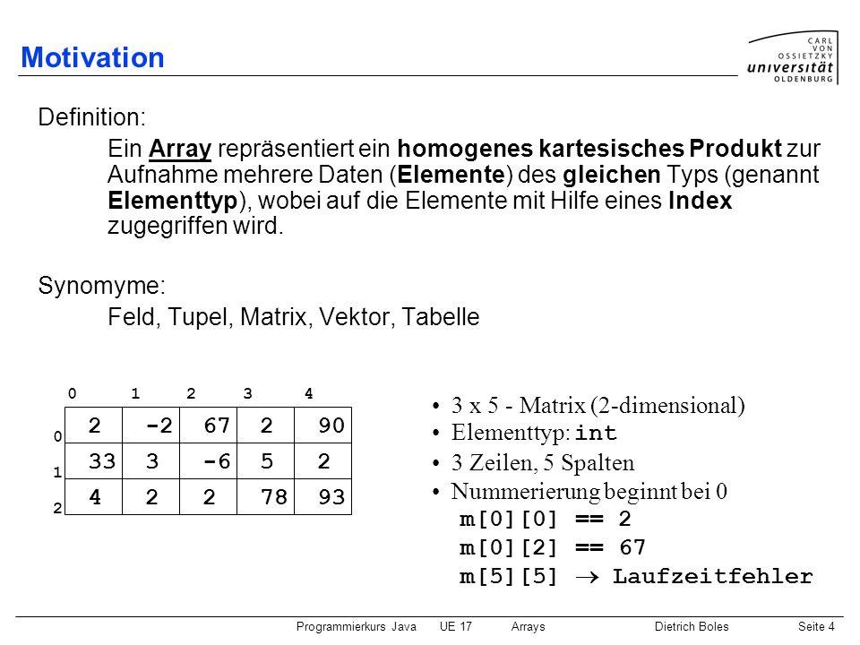 Motivation Definition: Synomyme: 3 x 5 - Matrix (2-dimensional)