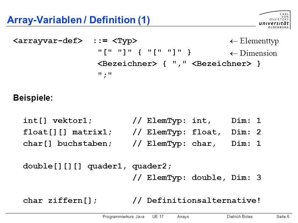 Array-Variablen / Definition (1)