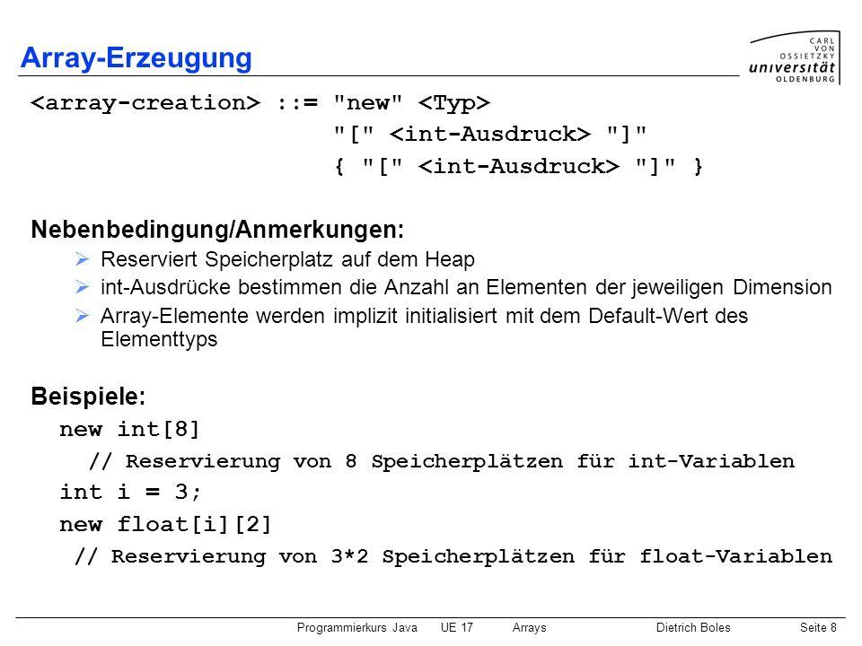 Array-Erzeugung <array-creation> ::= new <Typ>