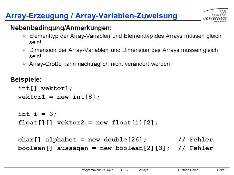 Array-Erzeugung / Array-Variablen-Zuweisung