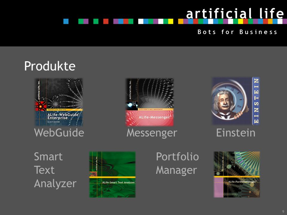 Produkte WebGuide Messenger Einstein Smart PortfolioManager Text