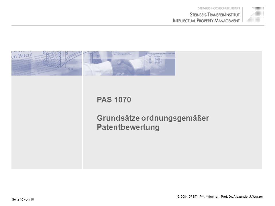 PAS 1070 Grundsätze ordnungsgemäßer Patentbewertung