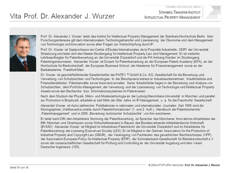 Vita Prof. Dr. Alexander J. Wurzer