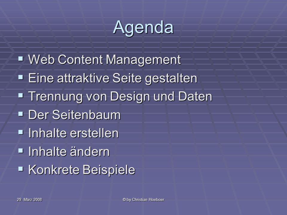 Agenda Web Content Management Eine attraktive Seite gestalten